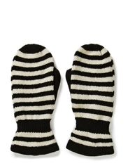 Ladies knitted mittens w.strp - Black/offwhite