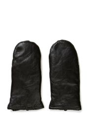 Ladies leather mittens w.zipp - Black