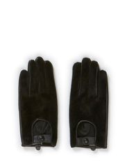 Ladies leather glove, fakefur - Black
