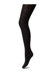 Rib wool tights - Black