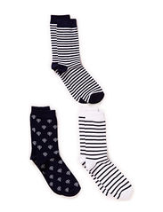 Ladies fashion ankelsock 3-pack - Navy