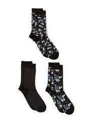 Ladies fashion ankelsock 3pack - Black/greycombi