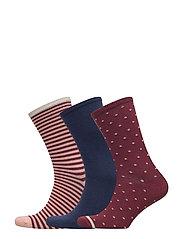 Ankle sock 3 pack - BLUE / BORDEAUX DOTS