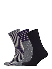 Ankle sock 3 pack - BLACK / GREY WITH LILAC STRIPES
