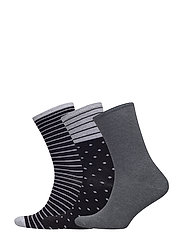 Ankle sock 3 pack - BLACK / GREY STRIPES