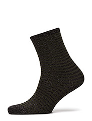 Fashion ankel sock with lurex - BLACK WITH DARK GREEN STRIPES