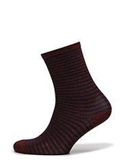 Fashion ankel sock with lurex - BORDEAUX LUREX W/ BLUE STRIPES