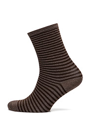 Fashion ankel sock with lurex - DARK BEIGE LUREX W/ BROWN STRIPE