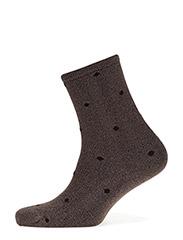 Fashion low cut sock with lurex - DARK BEIGE LUREX WITH BROWN DOTS