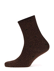 Fashion low cut sock with lurex - BROWN LUREX WITH GREEN DOTS