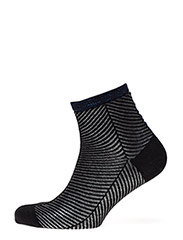 Fashion low cut sock with lurex - BLACK WITH BLUE LUREX