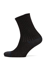 Rib Fashion ankel sock with lurex - BLACK LUREX