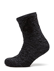 Homewear Sock w / lining & ABS - BLACK AND GREY MELANGE