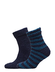 Cosy Sock 2 Pack - BLUE AND BLUE WITH BLUE STRIPES