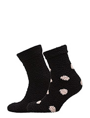 Cosy Sock 2 Pack - BLACK WITH DOTS AND BLACK