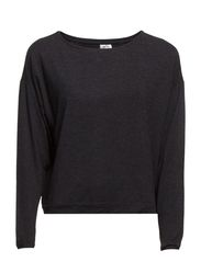 HW Blouse w l/S short model - Black Melange