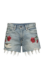 Rose-Embroidered Denim Short - ROSEN