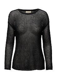 Linen Crewneck Sweater - SOFT BLACK
