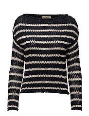 Striped Crewneck Sweater - NAVY CREAM