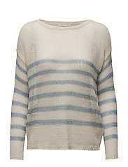 Striped Linen Crewneck Sweater - CREAM CHAMBRAY
