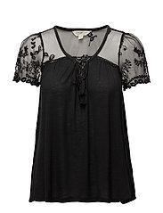 Lace-Up Boho Shirt - POLO BLACK