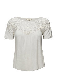 Lace-Trim Jersey Top - ANTIQUE CREAM