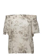 Floral Off-the-Shoulder Blouse - CLIMBING ROSE FLO