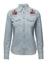 Embroidered Chambray Shirt - FADED INDIGO WASH