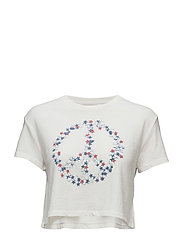 Cropped Jersey Graphic Tee - ANTQ CRM PEACE ST