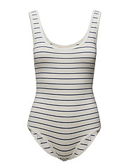 Striped Jersey Bodysuit - ANTQ WHITE BEDFOR