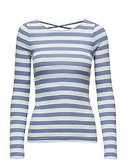 Striped Rib-Knit Top - CAMPUS BLUE ANTQ
