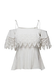 Crochet-Trim Gauze Blouse - WHITE