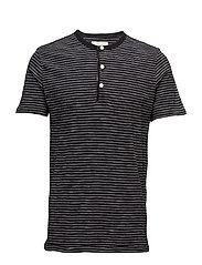 Striped Cotton Jersey Henley - BLK CR STR