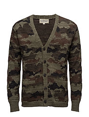 Camo Cotton V-Neck Cardigan - OLIVE MULTI