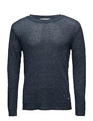 Cotton-Linen Crewneck Sweater - INDIGO