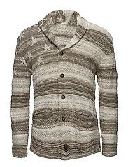 Flag Cotton-Blend Cardigan - NATURAL MULTI