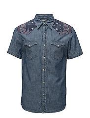 Slim Chambray Western Shirt - CASPIAN WASH