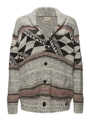 Cotton-Blend Shawl Cardigan - GREY MULTI
