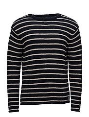 Striped Cotton Sweater - NAVY CREAM