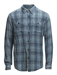 INDIGO PLAID COTTON WARD SHIRT - OCEANSIDE/BAY P