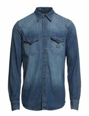 LS DENIM WESTERN SHIRT FLAG CU - DARK VINTAGE WA