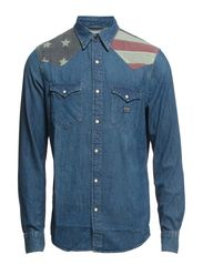 LS FLAG YOKE COWBOY SHIRT - BROKEN IN WASH