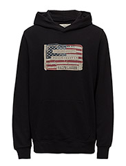 Flag-Patch Cotton Hoodie - POLO BLACK