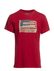 Flag-Patch Cotton Jersey Tee - SAILOR RED