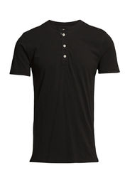 SS FLAG PLACKET HENLEY - FADED BLACK CAN