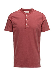 FLAG-PLACKET COTTON HENLEY - SAILOR RED
