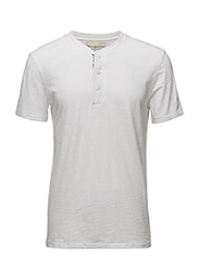 FLAG-PLACKET COTTON HENLEY - WHITE