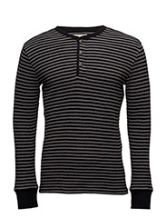 WAFFLE-KNIT COTTON HENLEY - POLO BLACK AVER