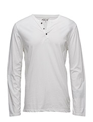 COTTON JERSEY HENLEY - WHITE