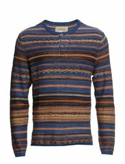 HENLEY-LONG SLEEVE-SWEATER - INDIGO MULTI